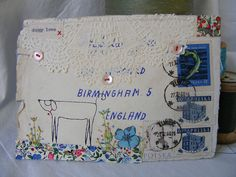 hens teeth collaged envelope with screen printed dog.. flckr