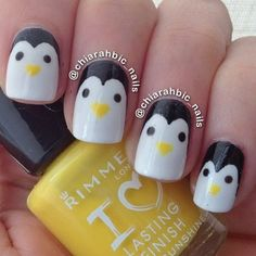 How cute are these penguin nails? And, so easy!!