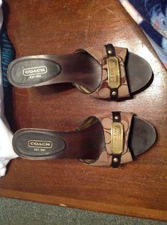 31b153229277 Coach sandals shoes high hill slip on canvas wooden platform size 9 1 2