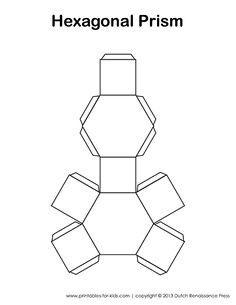 3D shape templates - these would be great for polymer clay bead bases. This one is a hexagonal prism.