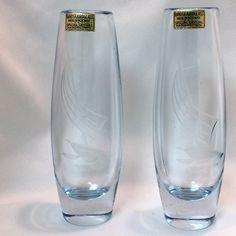 Pair (2 pcs) Vintage RANDSFJORD GLASS, Blue Art Glass #Vases w/ Etched Sailboat, Made in #Norway https://www.etsy.com/listing/487084786/pair-2-pcs-vintage-randsfjord-glass-blue