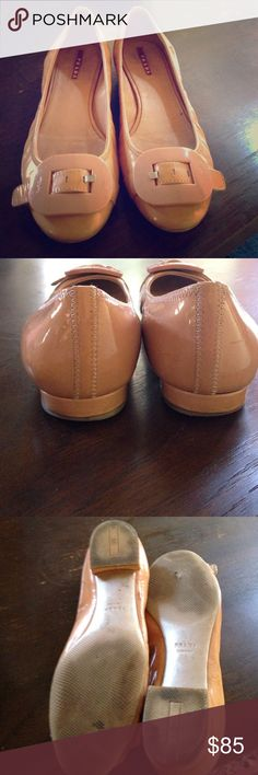 Prada peach cream color parent shoes Prada peach cream color parent shoes has some wear I the right shoe bottom side hardly noticeable it's comfortable but I have a bunion I can't wear them🤕 Prada Shoes Flats & Loafers