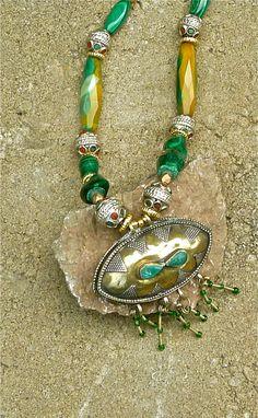 TRIBAL/BoHo Necklace  Malachite Gemstones   The Joy Moos Collection/Ethnic Inspired Jewellry