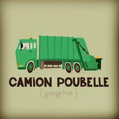 """Une illustration incontournable dans la série """"Transports"""", le Camion Poubelle / by #seveusmz"""