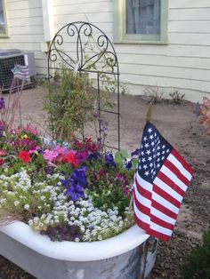 patriotic old bathtub garden