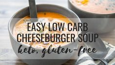 If you're having a busy day or week, then Easy Low Carb Cheeseburger Soup will revive your soul with just one pot, 30 minutes and maybe a little bacon. Ideal for ketogenic & keto diets & gluten-free. Ketogenic Recipes, Low Carb Recipes, Diet Recipes, Low Carb Soups, Low Carb Hamburger Recipes, Low Carb Chili Recipe, Healthy Recipes, Receitas Crockpot, Keto Soup