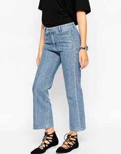 Image 4 of ASOS Cropped Flare Jeans With Patch Pockets In Vintage Wash