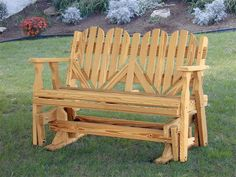 Amish Outdoor Pine Wood Heart Porch Glider Bench Made in the USA #MadeinUSA #MadeinAmerica via BuyDirectUSA.com
