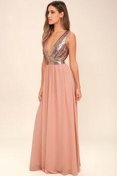 5a9a7d9579f Elegant Encounter Rose Gold Sequin Maxi Dress Rose Gold Gown