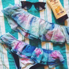 watercolor ruffle bikini top and bottom the perfect flirty, feminine bikini! Ruffles are mesh fabric. Worn once. Both top and bottom are size S. Tavik Swim Bikinis