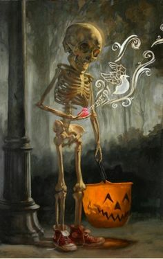 Skeleton trick or treater all set for Halloween by Jon Foster: