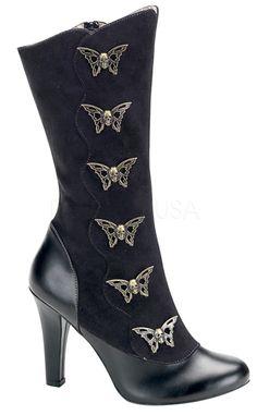 The Violet Vixen - Skull Flutter Steampunk Boots, $89.00 (http://thevioletvixen.com/shoes/skull-flutter-steampunk-boots/)