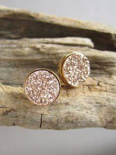 Rose Gold Druzy Earrings Titanium Drusy Quartz by julianneblumlo