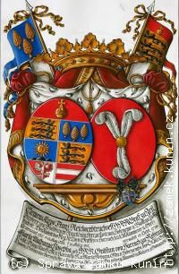 Coat of arms for Castle Kunin, built by the Harrach family