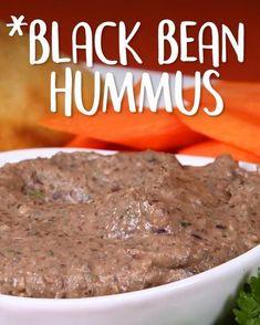 Black Bean Hummus -Tasty - Food Videos And Recipes Clean Eating Snacks, Healthy Snacks, Black Bean Hummus, Black Bean Dip, Appetizer Recipes, Appetizers, Vegetarian Recipes, Healthy Recipes, Recipes With Hummus