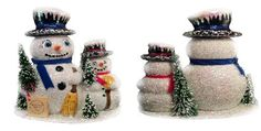 INO Schaller Paper Mache Snowman Family Christmas Candy Container Made Germany