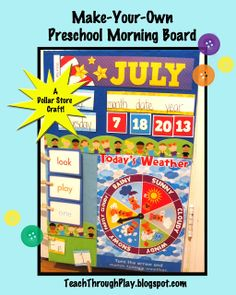 Teach Through Play: Make Your Own Preschool Morning Board  cheap and easy alternative to the circle time pocket chart for frugal homeschoolers like me!