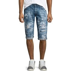 PRPS Distressed Slim-Fit Denim Shorts ($295) ❤ liked on Polyvore featuring men's fashion, men's clothing, men's shorts, blue, mens cotton shorts, mens slim fit shorts, mens distressed denim shorts, mens jean shorts and mens blue jean shorts