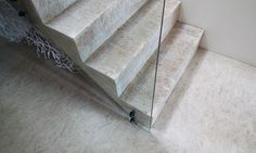 Stained white strandboard / OSB floors option 1 for stairs
