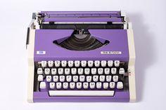 Purple Typewriter UNIS tbm Olympia by TuTuVintageBeautiful on Etsy