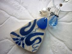 Pottery Sea Glass Necklace Blue Beach Seaglass Jewelry Sterling Pendant Pottery Shard