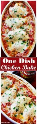 One Dish Chicken Bake - Flavorful chicken baked on a bed of tomatoes and covered in cheese makes for a one-dish dinner the whole family will enjoy. chicken recipes for dinner One Dish Dinners, One Pot Meals, Easy Meals, Chicken Flavors, Baked Chicken Recipes, Chicken Meals, Boneless Chicken, Caprese Chicken, Recipe Chicken