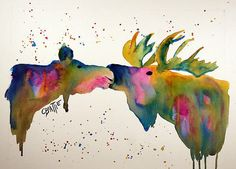 Kissing Moose Poster By Connie Beattie