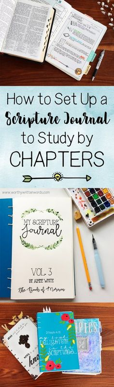I have two kinds of study journals- one by chapter, and one by topic. My favorite way to study the scriptures is by chapters. Studying by chapters means you Bible verses Bible Study Notebook, Bible Study Tips, Bible Study Journal, Scripture Study, Scripture Journal, Devotional Journal, Lds Scriptures, Bible Prayers, Bible Verses