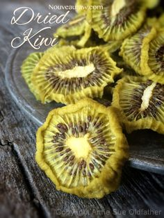 Dried Kiwi  Ash Note: potentially my favorite dehydrated fruit so far! Very tart. Made kiwi bits, but all very uniform. Sliced into chip size and then cut in half. No fruit preservative. Will be sure to make a huge batch before camping this year.