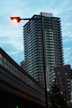 Building at pre-dawn. Kobe, Japan. 30aug14.