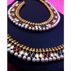 Fine golden finish & charming kundan red green stone work in a pearl payal anklet sh56rg