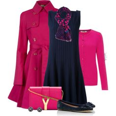 """""""Navy and Hot Pink Style"""" by pinkroseten on Polyvore"""