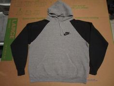 Vintage 80s NIKE Blue Tag Raglan Hoodie Sweatshirt Rayon USA Gray Black M L in Coats, Jackets, Sweaters | eBay