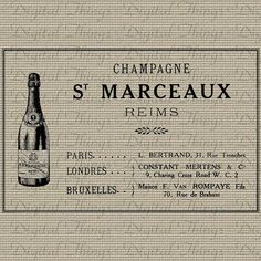 Vintage French Champagne Label Advertisement by DigitalThings, $1.00 Vintage Wine, French Vintage, Printable Art, Printables, Champagne Label, Reims, How To Make Pillows, French Decor, Paris
