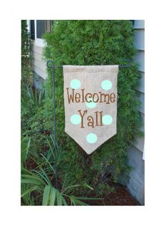 Personalized Monogrammed Burlap Garden Flag by CharmedBliss, $18.00