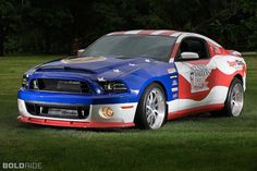 2013 ford-mustang-wounded-warrior-shelby-supersnake. Under the hood is a true American V8. The 5.8-liter supercharged engine produces 850 horsepower, mated to a six-speed manual gearbox and rear-wheel drive, of course.