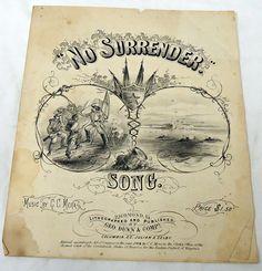 1864 Confederate Civil War Sheet Music No Surrender Song C C Mera VA | eBay