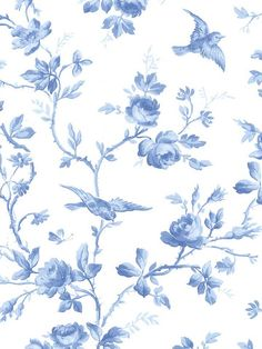 Bird and Roses wallpaper, perfect for the blue & white cottage!
