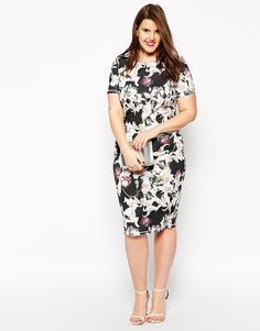 Image 4 ofASOS CURVE Bodycon Dress In Lily Print