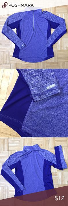Blue Space Dye Dri Zip Up Running Top I love this color- which this was my size! Flawless deep 3-tone patterned blueish purple Dri-More mock neck zip with thumbholes and reflective logo detail. New without tags. Semi-fitted Large 12-14 ladies. Danskin Now Tops Sweatshirts & Hoodies