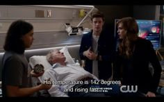 """The Flash """"The Fury of Firestorm"""" S02E04 His temperature is 142 degrees and rising fast."""" That's terrible, he's going to die - except this is the moment he is rescued, because... (1 of 2)"""