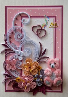 Quilling card and teddy bear