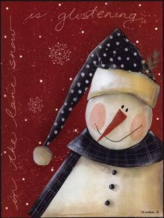 Snow is Glistening ~ Fine-Art Print - Christmas Snowmen Art Prints and Posters - Christmas Pictures Christmas Canvas, Christmas Paintings, Christmas Snowman, Winter Christmas, Vintage Christmas, Christmas Ornaments, Holiday Canvas, Christmas Christmas, Snowman Crafts
