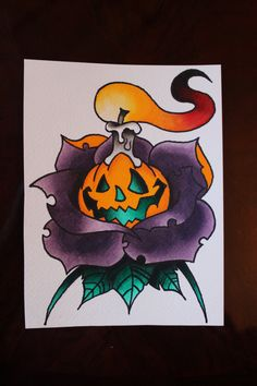 Halloween Traditional Rose - Original Liquid Watercolor Traditional Tattoo Flash by Deep13Art on Etsy
