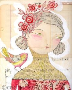 whimsical watercolor painting of a lady and a bird - 8 x 10 - limited edition - archival - print - by cori dantini