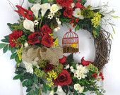 Red Spring Grapevine Wreath Cardinals and bird cage