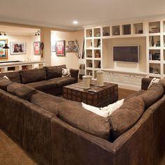 Love this couch! It aint L baby its a U-couch Basement Makeover, Basement Renovations, Basement Ideas, Walkout Basement, Basement Bars, Basement Ceilings, Basement Flooring, Cozy Basement, Modern Basement