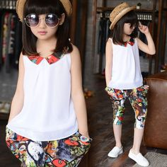 girls clothes set kids shorts tees kids clothing two-piece chiffon tops bottoms graffiti print pants summer style outerwear Loja Online African Dresses For Kids, Little Girl Dresses, Girls Dresses, Kids Fashion Blog, Girl Fashion, Outfits Niños, Kids Outfits, Diy Clothes Tops, Kids Blouse Designs