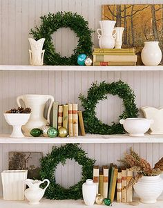 LOVE the wreathes on the shelves! Perhaps in my bathroom!