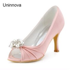 24ab69e9c49a Pearl Pleated Satin Bridal Shoes Peep Toe Med Heel lady s Satin Pumps  Women s Shoes Med High